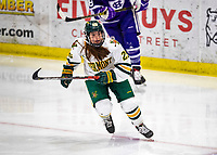 2 February 2020: University of Vermont Catamount Forward Alyssa Holmes, a Junior from Burlington, Ontario, in second period action against the Holy Cross Crusaders at Gutterson Fieldhouse in Burlington, Vermont. The Lady Cats rallied in the 3rd period to tie the Crusaders 2-2 in NCAA Women's Hockey East play. Mandatory Credit: Ed Wolfstein Photo *** RAW (NEF) Image File Available ***