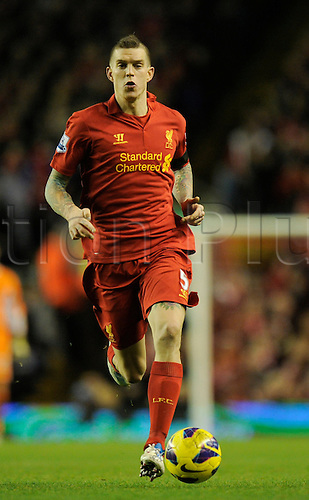 15.12.2012. Liverpool, England.  Daniel Agger of Liverpool  in action during the Premier League game between Liverpool and Aston Villa from Anfield,Liverpool