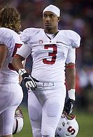 SEATTLE, WA - September 28, 2013: Stanford linebacker Noor Davis walks on the sideline during play against Washington State at CenturyLink Field. Stanford won 55-17