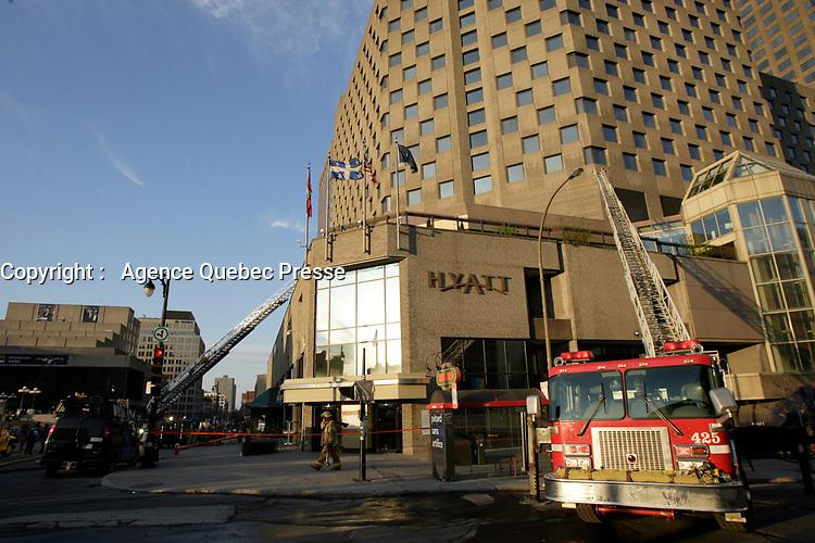Montreal (QC) CANADA -April 29 2009 file - Fire in a restaurant below the Hyatt Hotel in Montreal Complexe Desjardins