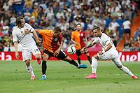Real Madrid´s Modric and Carvajal and Galatasaray´s Lukas Podolski during Santiago Bernabeu Trophy match at Santiago Bernabeu stadium in Madrid, Spain. August 18, 2015. (ALTERPHOTOS/Victor Blanco)