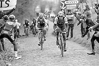 Zdenek Stybar (CZE/QuickStep), Ian Stannard (GBR/Team-SKY) riding away from Tiesj Benoot (BEL/Lotto-Soudal) up the Oude Kwaremont<br /> <br /> 69th Kuurne-Brussel-Kuurne 2017 (1.HC)