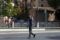 Actor Tom Cruise walking alone on the Imperial Fora to say hallo to his fans on the set of the film Mission Impossible 7 at Imperial Fora in Rome. <br /> Rome (Italy), October 13th 2020<br /> Photo Samantha Zucchi Insidefoto