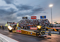 Sep 1, 2017; Clermont, IN, USA; NHRA top fuel driver Leah Pritchett (near) races alongside Tony Schumacher during qualifying for the US Nationals at Lucas Oil Raceway. Mandatory Credit: Mark J. Rebilas-USA TODAY Sports