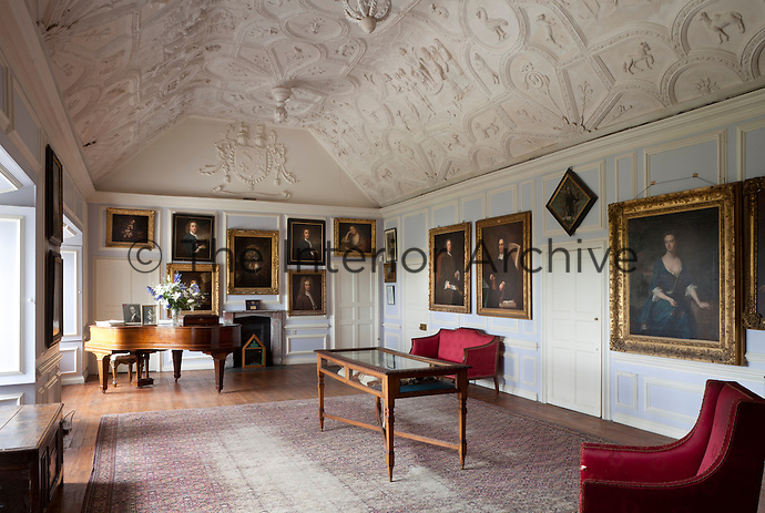 The Great Chamber of Prideaux Place with its restored Elizabethan/Jacobean plasterwork ceiling which depicts Susannah and the Elders