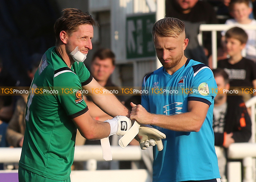 Eastbourne Borough goalkeeper, Lee Worgan, gets ready to resume after suffering a facial injury during Maidstone United vs Eastbourne Borough, Vanarama National League South Football at the Gallagher Stadium on 9th October 2021