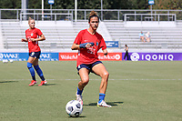 CARY, NC - SEPTEMBER 12: Carson Pickett #4 of the North Carolina Courage warms up before a game between Portland Thorns FC and North Carolina Courage at Sahlen's Stadium at WakeMed Soccer Park on September 12, 2021 in Cary, North Carolina.