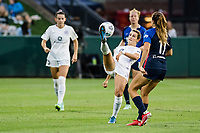 TACOMA, WA - JULY 31: Emily Fox #11 of Racing Louisville FC clears the ball during a game between Racing Louisville FC and OL Reign at Cheney Stadium on July 31, 2021 in Tacoma, Washington.