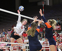 Arkansas Junior Jillian Gillen (10) spikes ball against Auburn on Sunday, Oct. 10, 2021, during play at Barnhill Arena, Fayetteville. Visit nwaonline.com/211011Daily/ for today's photo gallery.<br /> (Special to the NWA Democrat-Gazette/David Beach)