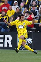 8 MAY 2010:  Gino Padula of the Columbus Crew (4) during MLS soccer game between New England Revolution vs Columbus Crew at Crew Stadium in Columbus, Ohio on May 8, 2010. The Columbus defeated New England 3-2.