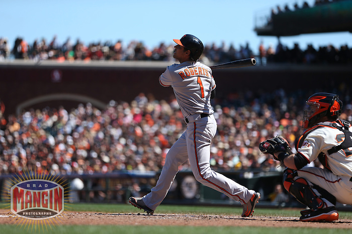SAN FRANCISCO, CA - AUGUST 10:  Brian Roberts of the Baltimore Orioles bats during the game against the San Francisco Giants at AT&T Park on Saturday, August 10, 2013 in San Francisco, California. Photo by Brad Mangin