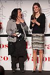 Princess Letizia of Spain (L) and one of the winners attend `El barco de vapor´ Awards ceremony at Real Casa de Correos in Madrid, Spain. April 01, 2014. (ALTERPHOTOS/Victor Blanco)