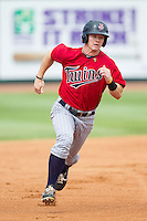 Austin Diemer (11) of the Elizabethton Twins hustles towards third base against the Johnson City Cardinals at Cardinal Park on July 27, 2014 in Johnson City, Tennessee.  (Brian Westerholt/Four Seam Images)