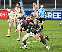 20th February 2021; Welford Road Stadium, Leicester, Midlands, England; Premiership Rugby, Leicester Tigers versus Wasps; Matt Scott of Leicester Tigers makes a break forward and is tackled by Brad Shields of Wasps