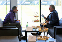 Pictured L-R: Head coach Paul Clement and John Toshack MBE Tuesday 04 April 2017<br /> Re: Official opening of the Fairwood Training Complex of Swansea City FC, Wales, UK