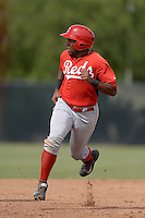 Cincinnati Reds outfielder Narciso Crook (55) during an Instructional League game against the Milwaukee Brewers on October 6, 2014 at Maryvale Baseball Park Training Complex in Phoenix, Arizona.  (Mike Janes/Four Seam Images)