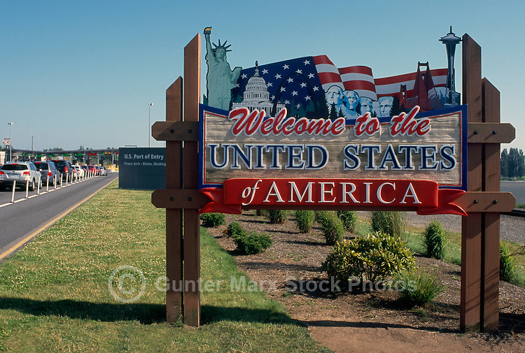 Welcome Sign to United States of America at Peace Arch International Border Crossing / Douglas Border Crossing, from Surrey, BC, British Columbia, Canada to Blaine, Washington State, USA