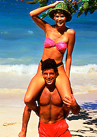 Young couple on Jamaican beach
