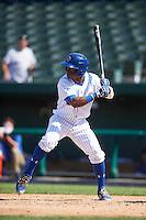 South Bend Cubs center fielder Roberto Caro (43) at bat during the second game of a doubleheader against the Peoria Chiefs on July 25, 2016 at Four Winds Field in South Bend, Indiana.  South Bend defeated Peoria 9-2.  (Mike Janes/Four Seam Images)