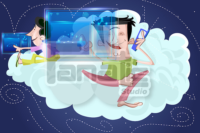 Illustrative image of friends with screen on cloud representing cloud computing