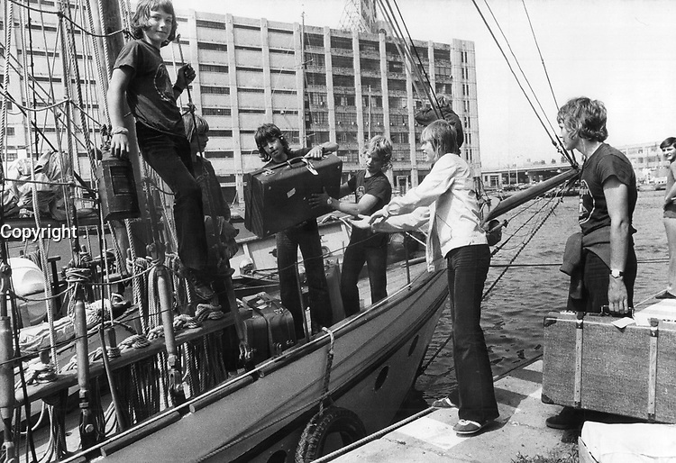 1972 FILE PHOTO - ARCHIVES -<br /> <br /> Fifteen-year-old boys from Oslo who are guests of the Big Brothers organization in Toronto come ashore from training brigantine Pathfinder; on which they sailed from near Picton. The boys - Jan Tellefsen; Tor Stensbak; John Betterud; Geir Nordmo; Arnstein Larsen-Hohl and Richard Eriksen - will tour Metro and visit Niagara Falls; Ottawa and Quebec city. Metro boys visited Oslo last year.<br /> <br /> 1972<br /> <br /> PHOTO : Boris Spremo - Toronto Star Archives - AQP