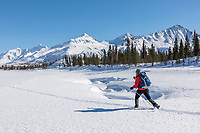 Woman on cross country skis in the Alaska Range mountains.