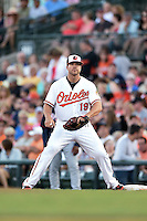 Baltimore Orioles first baseman Chris Davis (19) during a Spring Training game against the Atlanta Braves on April 3, 2015 at Ed Smith Stadium in Sarasota, Florida.  Baltimore defeated Atlanta 3-2.  (Mike Janes/Four Seam Images)