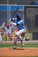 Tampa Bay Rays Aldenis Sanchez (87) bats during a Minor League Spring Training game against the Boston Red Sox on March 25, 2019 at the Charlotte County Sports Complex in Port Charlotte, Florida.  (Mike Janes/Four Seam Images)