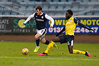 20th February 2021; Dens Park, Dundee, Scotland; Scottish Championship Football, Dundee FC versus Queen of the South; Danny Mullen of Dundee drives past Ayo Obileye of Queen of the South