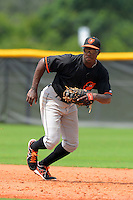 GCL Orioles first baseman Randolph Gassaway (51) during a game against the GCL Rays on July 20, 2013 at Charlotte Sports Complex in Port Charlotte, Florida.  GCL Orioles defeated the GCL Rays 4-1.  (Mike Janes/Four Seam Images)