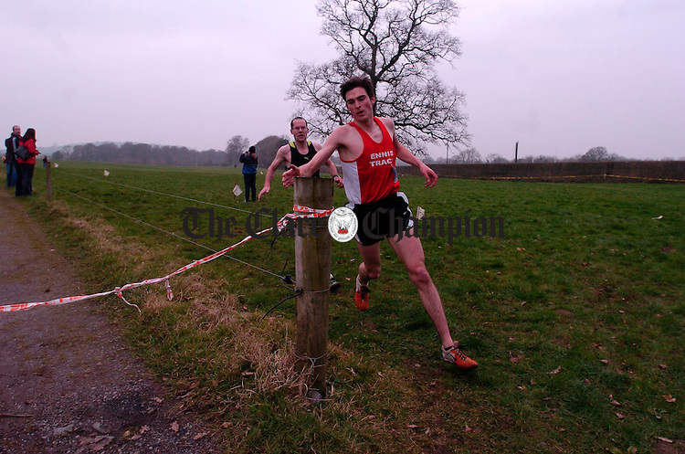 Rory Chessor and Pat Nugent in action during the Clare Cross Country Championships in Kilkishen. Photograph by John Kelly.