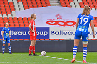 Lisa Petry (21) of Standard readu to start the female soccer game between Standard Femina de Liege and AA Gent Ladies on the 6th matchday in play off 1 of the 2020 - 2021 season of Belgian Scooore Womens Super League , tuesday 11 th of May 2021  in Liege , Belgium . PHOTO SPORTPIX.BE   SPP   STIJN AUDOOREN