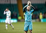 Celtic v St Johnstone...23.01.16   SPFL  Celtic Park, Glasgow<br /> Alan Mannus applauds the travelling fans at full time<br /> Picture by Graeme Hart.<br /> Copyright Perthshire Picture Agency<br /> Tel: 01738 623350  Mobile: 07990 594431
