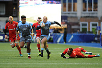 Dan Fish of Cardiff Blues evades the tackle of Alex Goode of Saracens during the Heineken Champions Cup match between Cardiff Blues and Saracens at Cardiff Arms Park in Cardiff, Wales. Saturday 15 December 2018