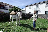 Kind mit Esel in Arrifes auf der Insel Sao Miguel, Azoren, Portugal