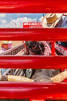 Eli Vastbinder, Athens,TX, ready to ride the bull Chorin One at 2017 Cheyenne Frontyer days