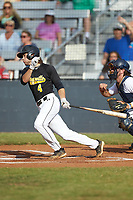 Chase Bruno (4) (Coker College) of the Statesville Owls follows through on his swing against the Mooresville Spinners at Moor Park on June 14, 2020 in Mooresville, NC.  The Owls defeated the Spinners 8-7 in 10 innings. (Brian Westerholt/Four Seam Images)