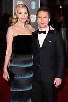 Sam Rockwell and Leslie Bibb<br /> arriving for the BAFTA Film Awards 2018 at the Royal Albert Hall, London<br /> <br /> <br /> ©Ash Knotek  D3381  18/02/2018