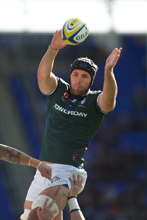 Bryn Evans of London Irish secures the lineout ball during the Aviva Premiership match between London Irish and Bath Rugby at the Madejski Stadium on Saturday 22nd September 2012 (Photo by Rob Munro)