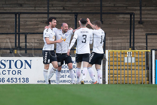 21st November 2020; Somerset Park, Ayr, South Ayrshire, Scotland; Scottish Championship Football, Ayr United versus Dundee FC; Michael Moffat of Ayr United is congratulated after scoring for 2-0 in the 16th minute