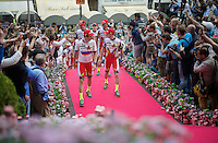Team Katusha arrives via the pink carpet at the Giro 2015 Official Team Presentation (in San Remo)