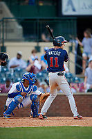 Rome Braves center fielder Drew Waters (11) at bat in front of catcher MJ Melendez (7) during a game against the Lexington Legends on May 23, 2018 at Whitaker Bank Ballpark in Lexington, Kentucky.  Rome defeated Lexington 4-1.  (Mike Janes/Four Seam Images)