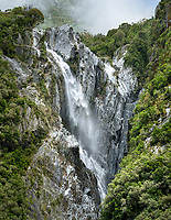 Waterfall in Franz Josef Glacier valley, Westland Tai Poutini National Park, UNESCO World Heritage Area, West Coast, South Westland, New Zealand, NZ