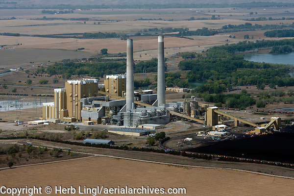 aerial photograph coal fired power plant Nebraska