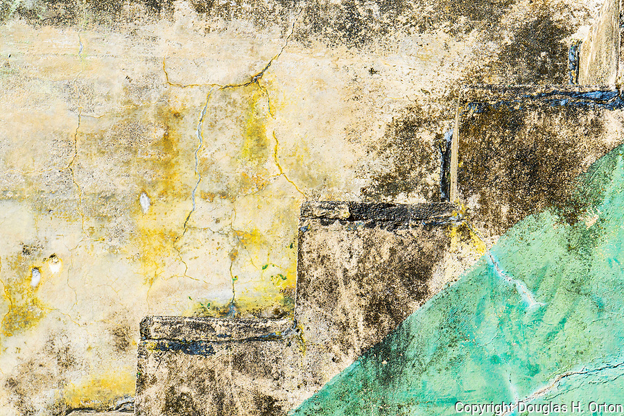 Concrete stairway. Abandoned military gunnery bunkers at Fort Worden State Park, Port Townsend, WA.  Cubist, abstract, representaional.