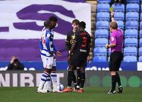 3rd October 2020; Madejski Stadium, Reading, Berkshire, England; English Football League Championship Football, Reading versus Watford; Josh Laurent of Reading receives a yellow card from Referee Gavin Ward