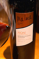 Bottle of Malma Malbec NQN Bodega NQN Winery, Vinedos de la Patagonia, Neuquen, Patagonia, Argentina, South America