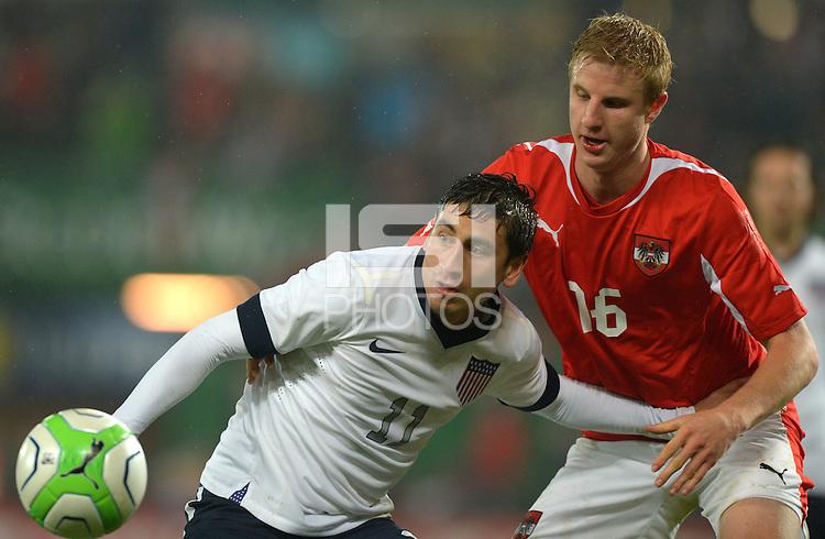 VIENNA, Austria - November 19, 2013: Alejandro Bedoya of USA and Martin Hinteregger of Austria during the international friendly match between Austria and the USA at Ernst-Happel-Stadium.
