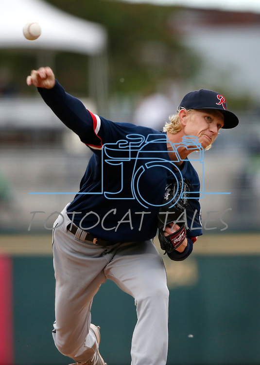 Tacoma Rainiers' Darren McCaughan pitches against the Reno Aces, in Reno, Nev., on Friday, May 28, 2021. <br /> Photo by Cathleen Allison