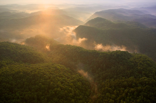 Ground fog over Hiwassee River, Cherokee National Forest